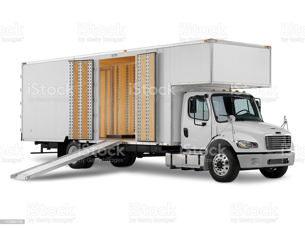 Commercial truck ready for loading on white background stock photo