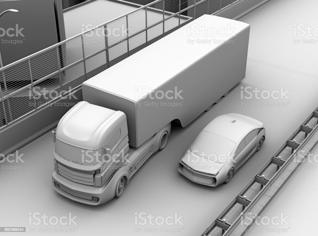Commercial truck trying change lane stock photo