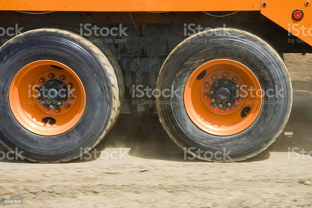 Commercial Truck Wheels in Motion royalty-free stock photo