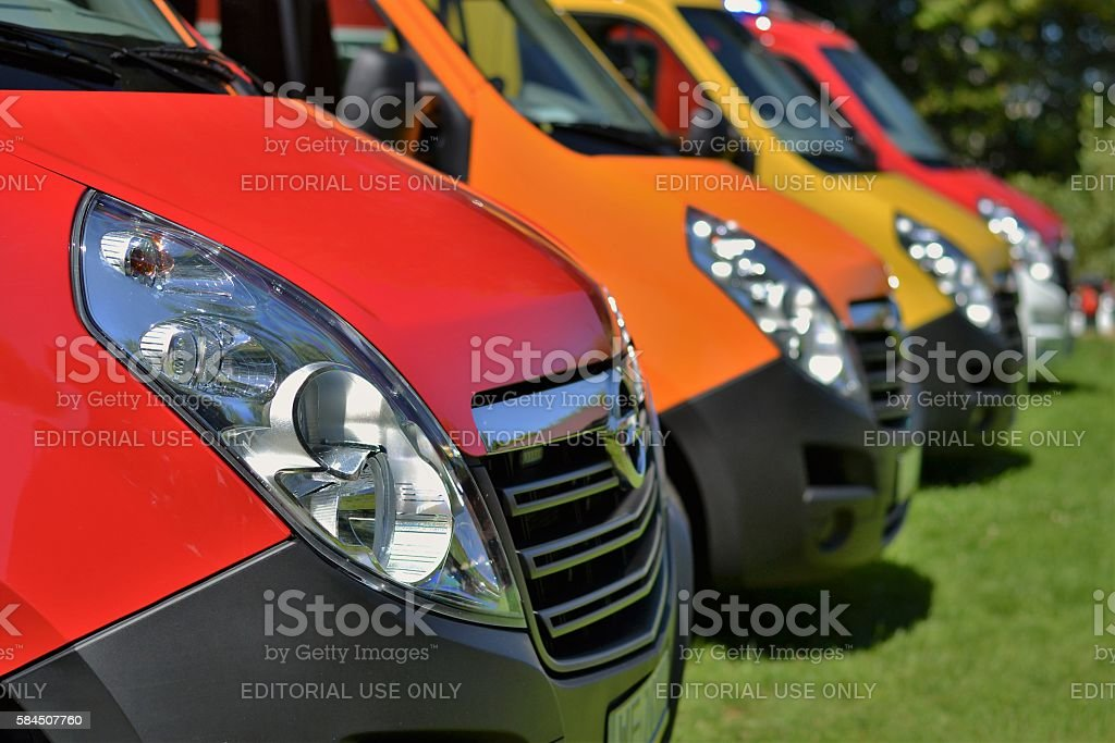 Commercial vehicles in a row stock photo