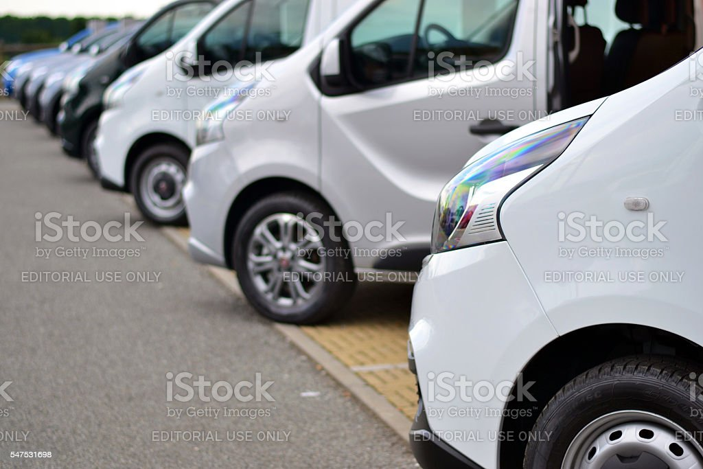 Commercial vehicles on the parking stock photo