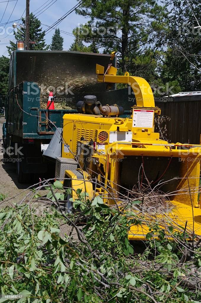 Commercial wood chipper working stock photo