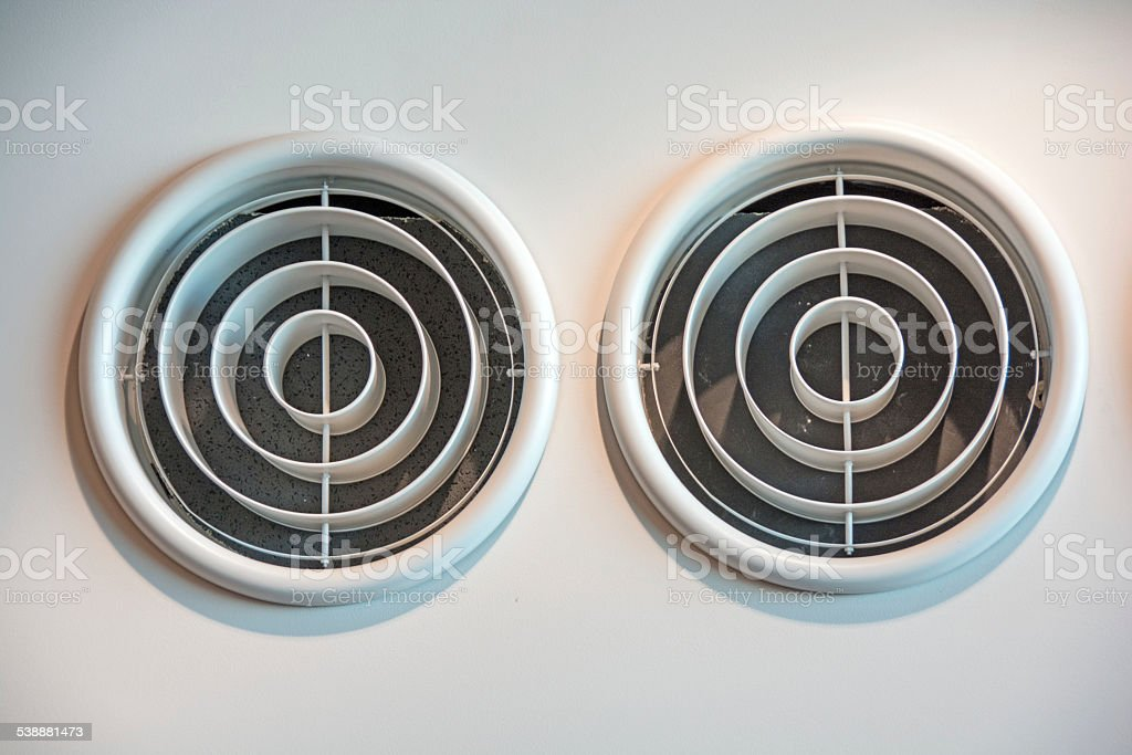 Commericial Roof Heating Air Ducts stock photo