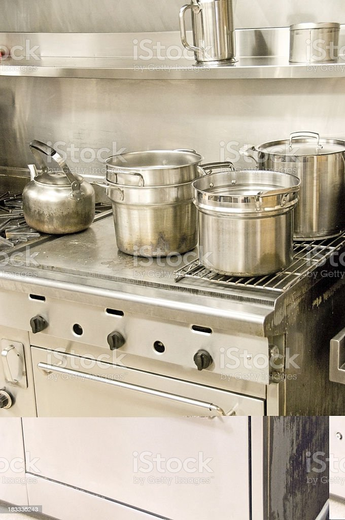 Commericial Stove and Pots stock photo
