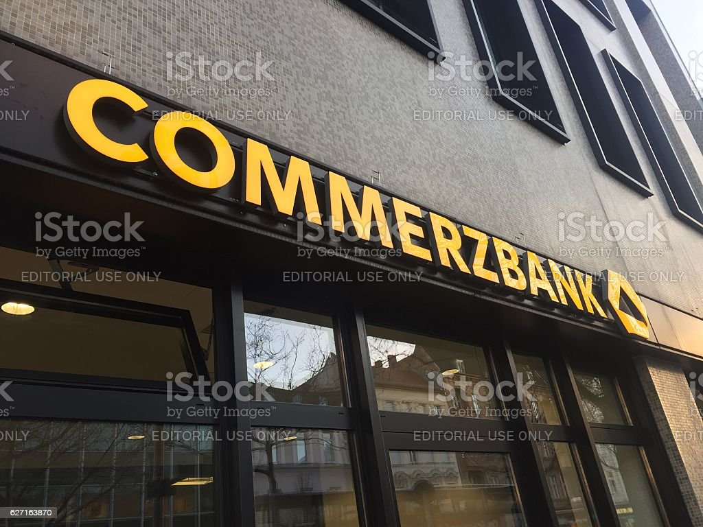 Berlin, Germany - December 2, 2016: Commerzbank branch stock photo