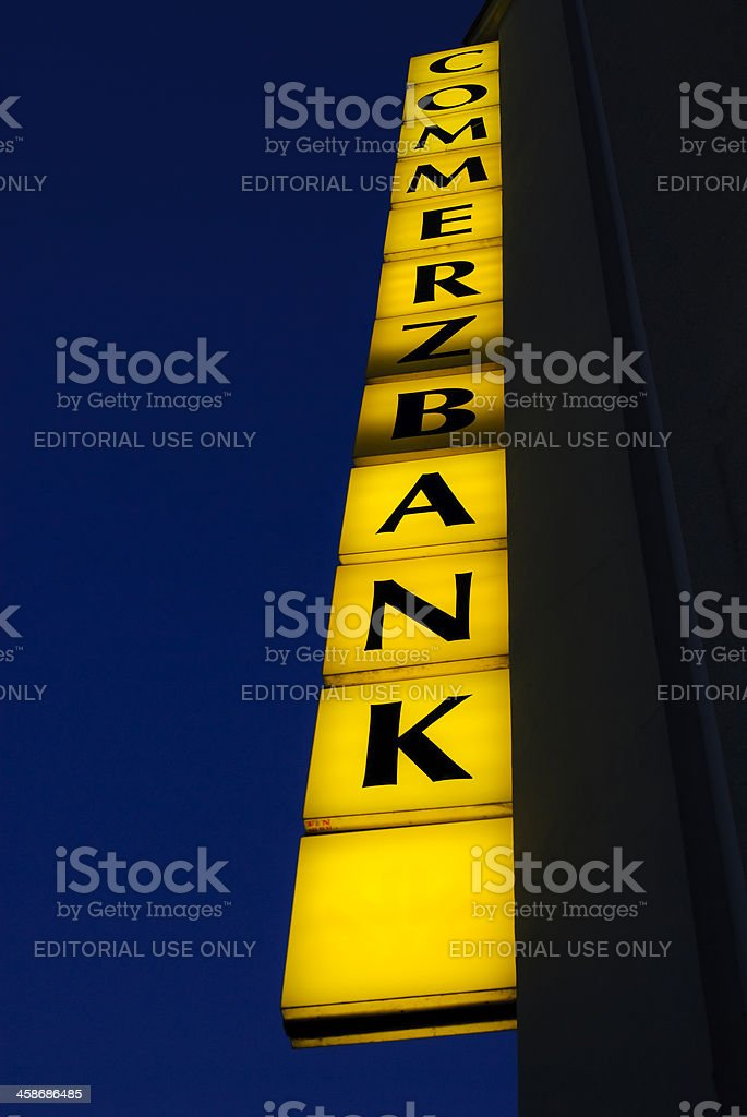 Commerzbank neon sign royalty-free stock photo