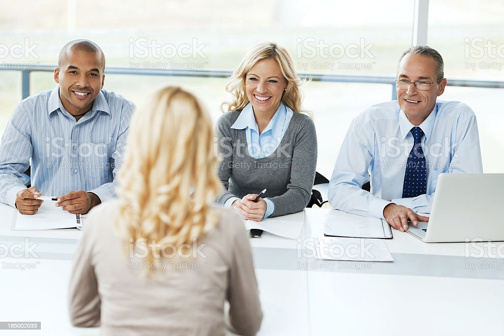Commission having a Job interview. stock photo
