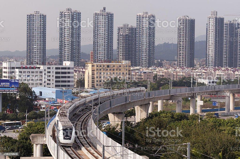 Commissioning train in Zhuhai city stock photo