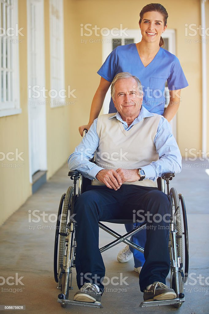 Committed to his comfort and care stock photo