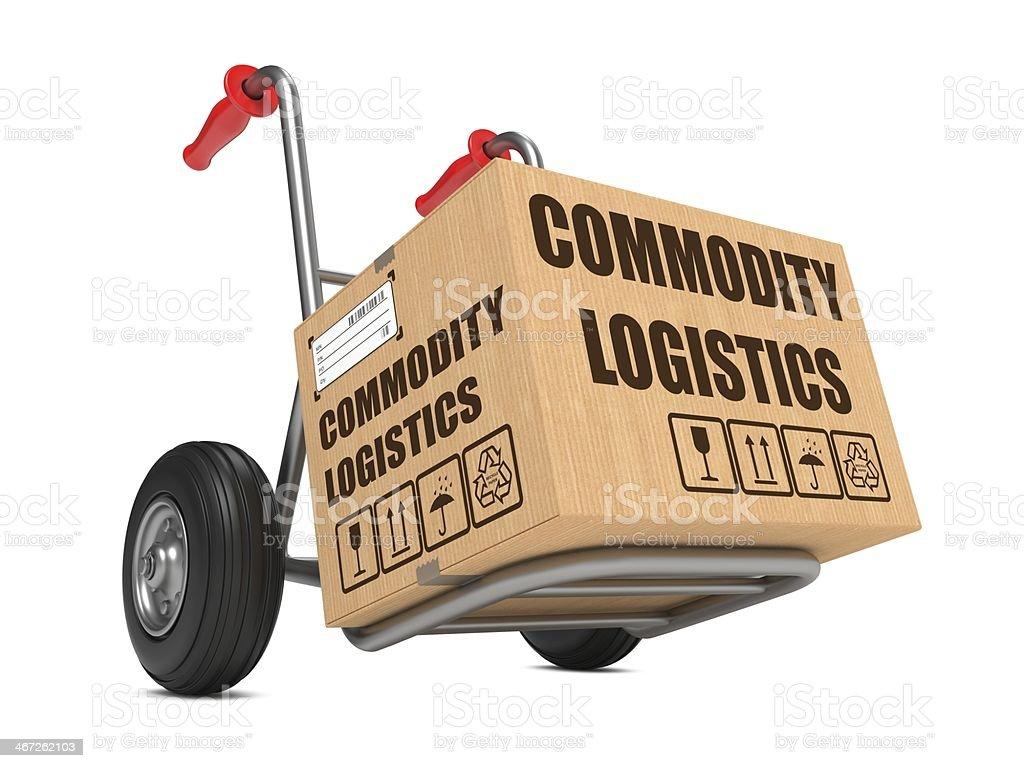 Commodity Logistics - Cardboard Box on Hand Truck. stock photo