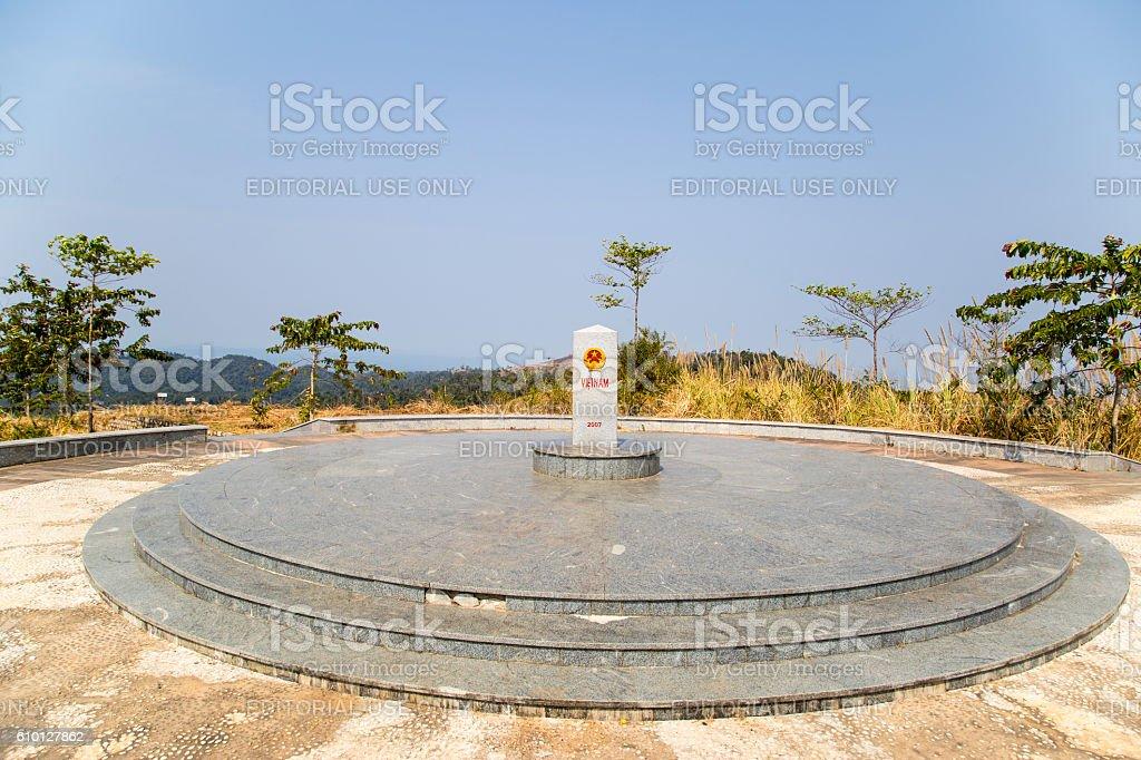 Common boundary stone stock photo