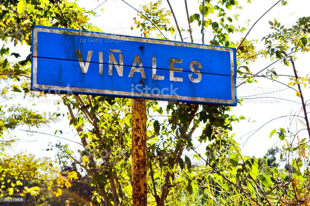 Common city sign of Vinales, Cuba stock photo