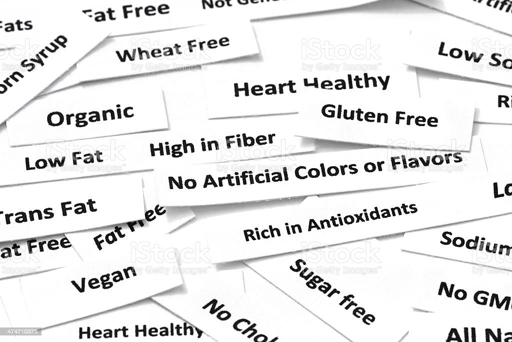 Common healthy eating attributes stock photo