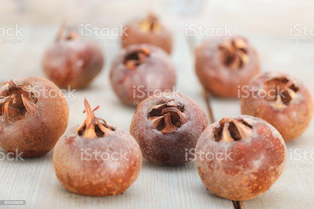 Common medlar fruits stock photo