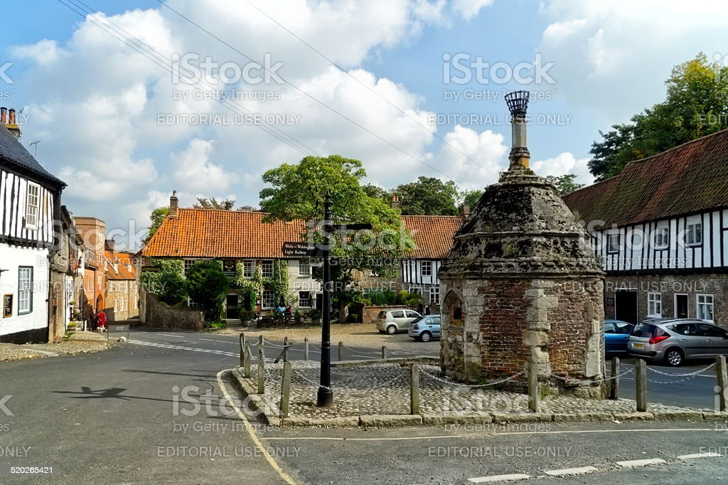 Common Place and pump house in Little Walsingham stock photo