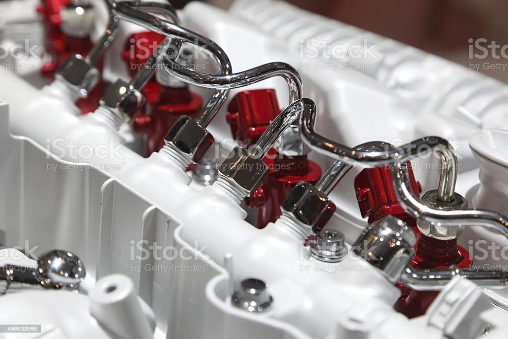 Common rail diesel injection system stock photo