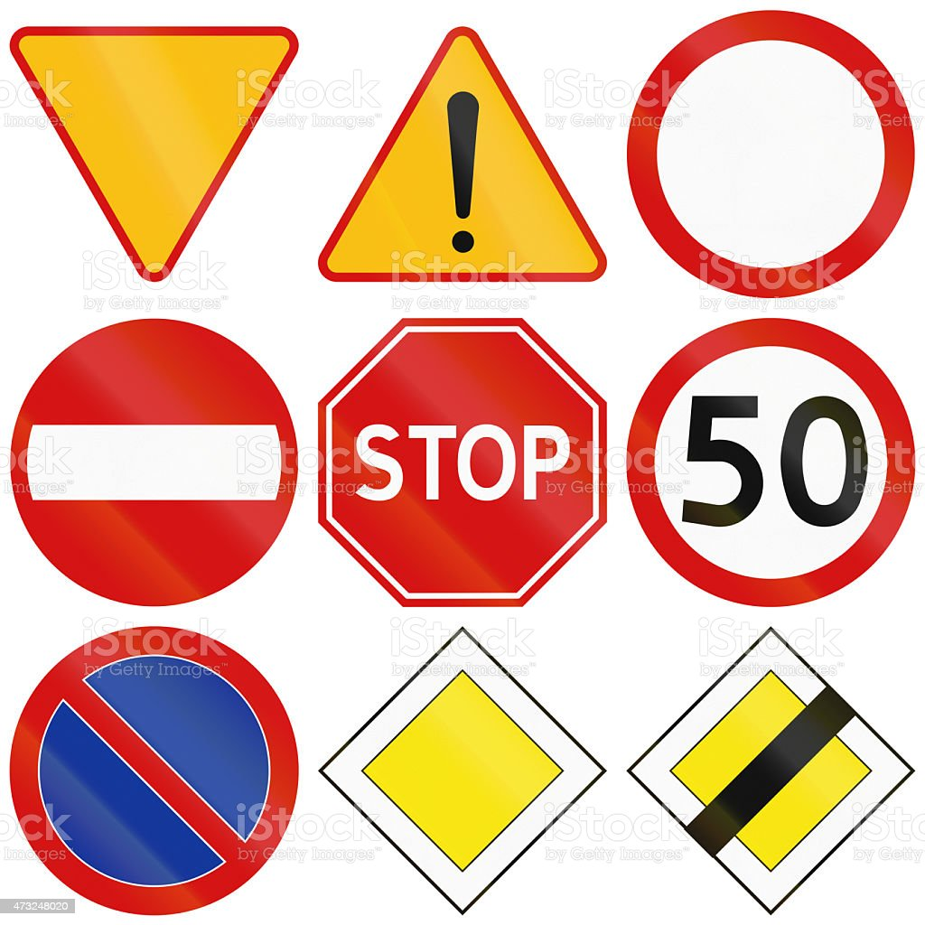 Common Traffic Signs in Poland stock photo