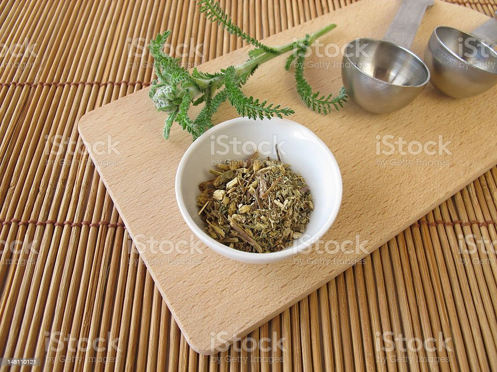 Common yarrow, Millefolii herba stock photo