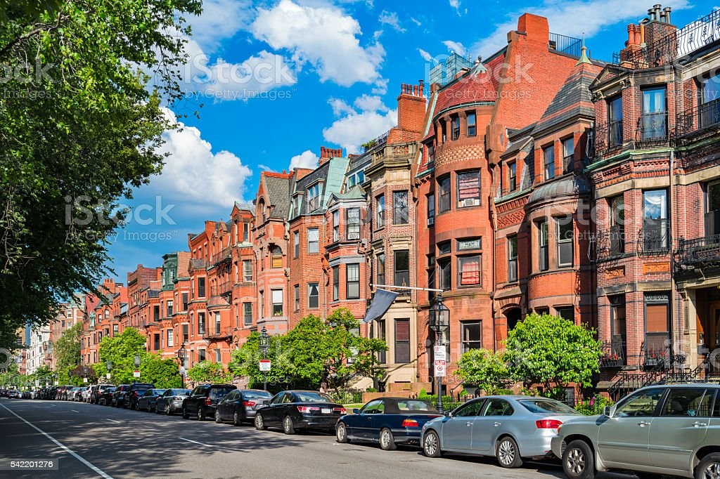 Commonwealth Avenue in Boston Massachusetts USA stock photo