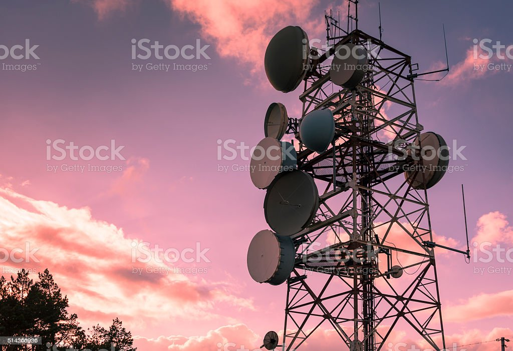 Communication and transmission tower for military use stock photo