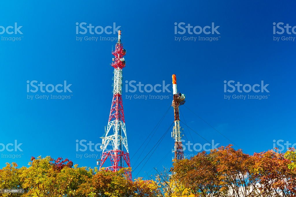 Communication antenna towers stock photo