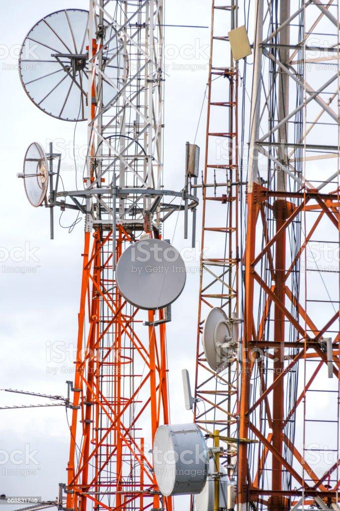 Communication antennas detail stock photo