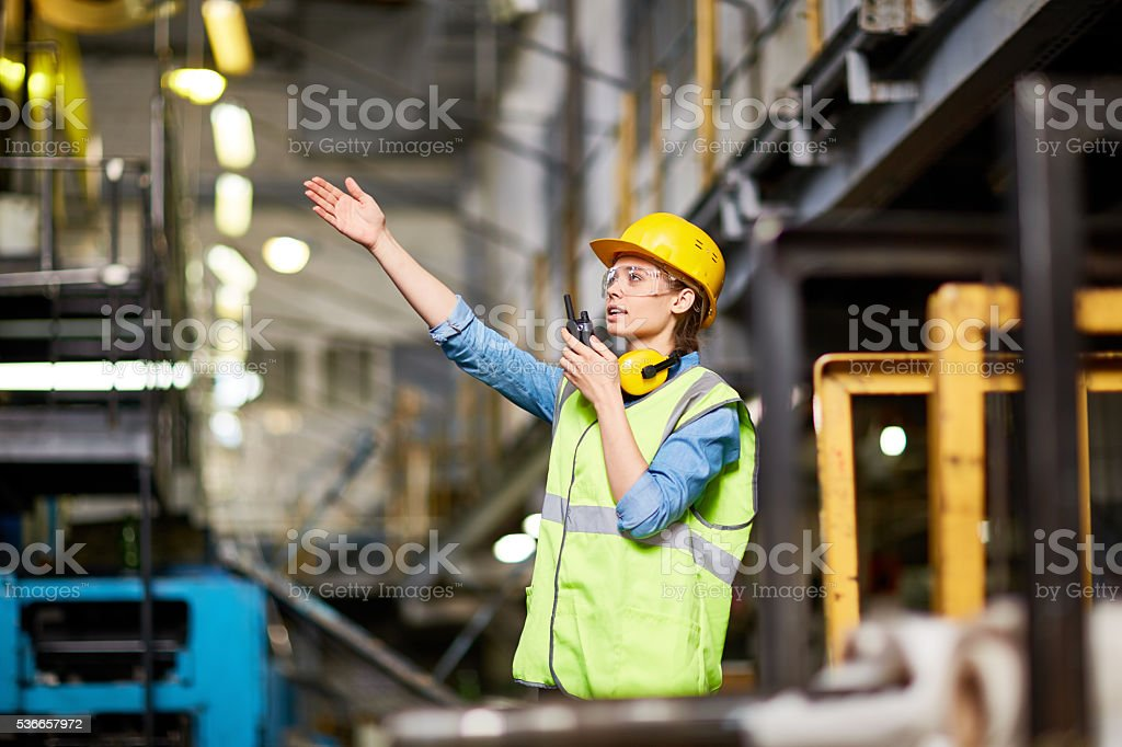 Communication at factory stock photo