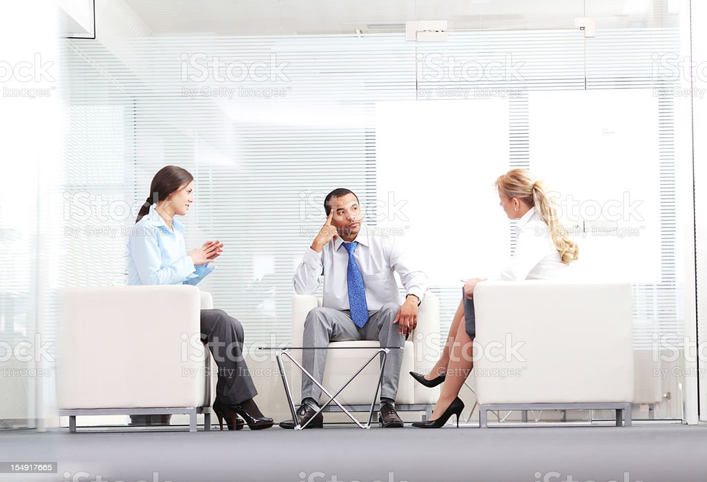 Communication at the workplace. stock photo