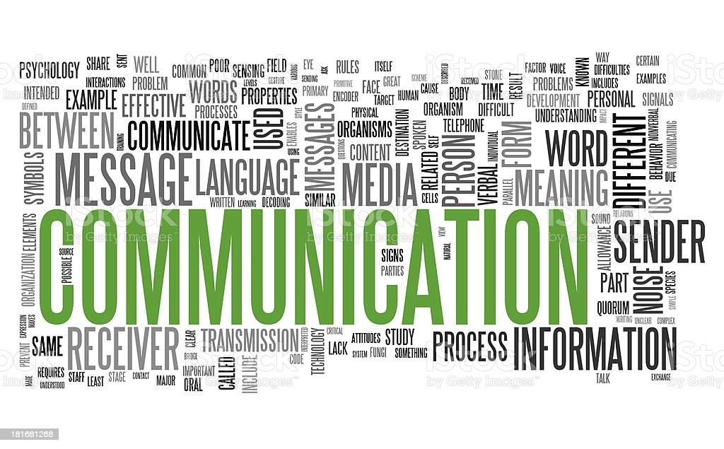 Communication concept in word tag cloud stock photo