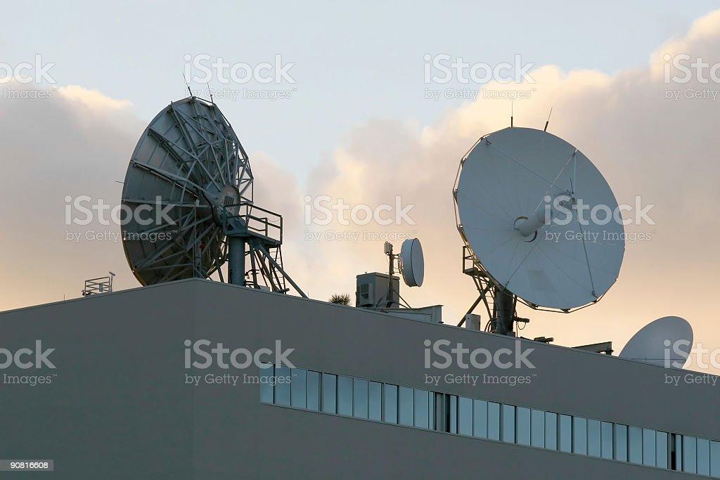 Communication Dishes at Dusk royalty-free stock photo