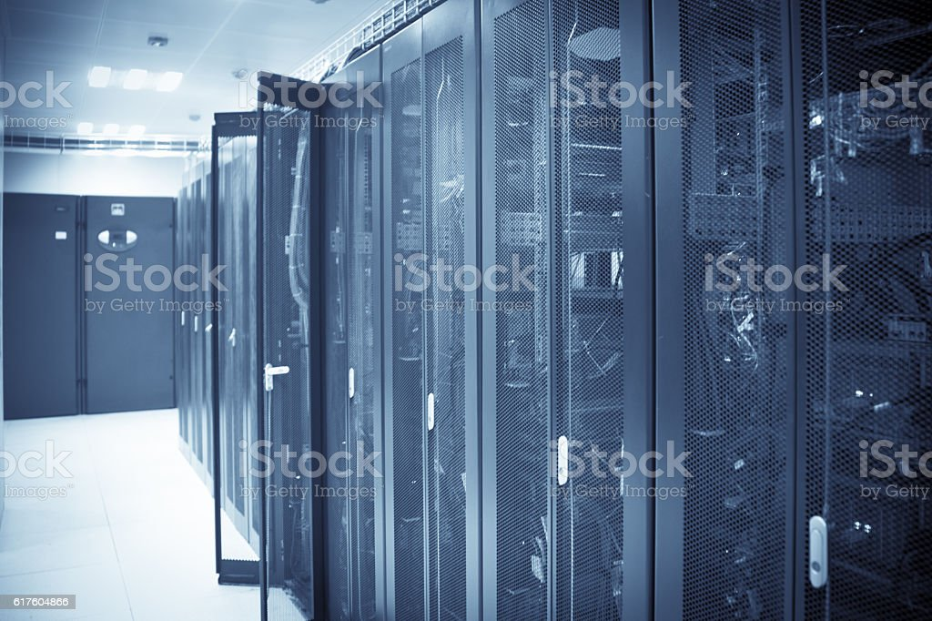 communication equipment cabinets with lighting stock photo