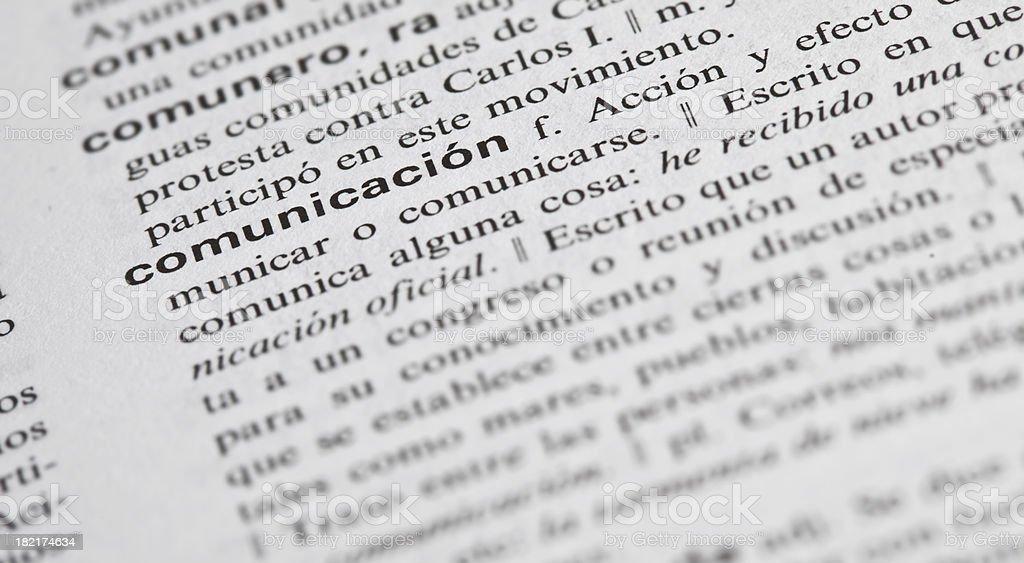communication explained in spanish stock photo