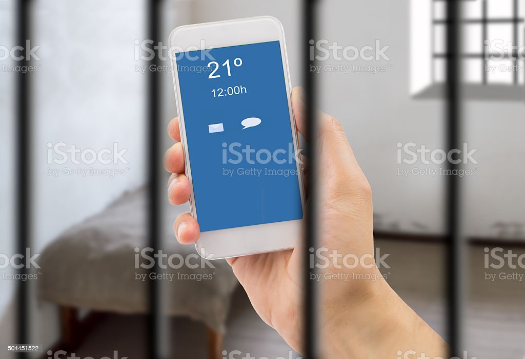communication in jail stock photo