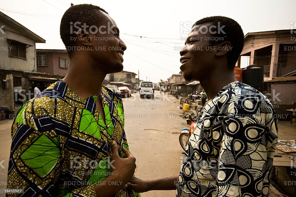 Communication in Lagos town stock photo