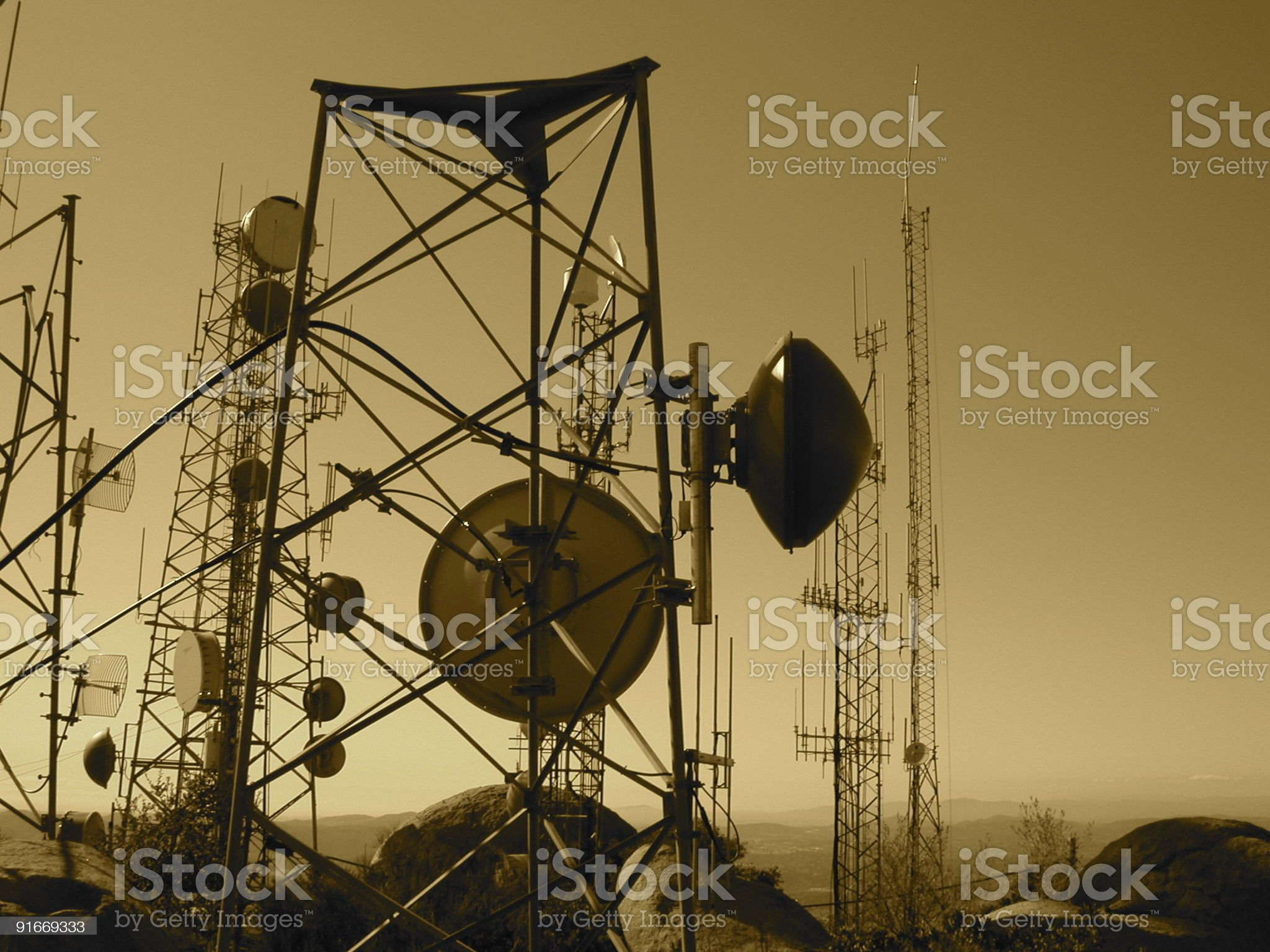 Communication in sepia royalty-free stock photo