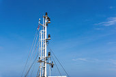 Communication mast of a tugboat at oilfield