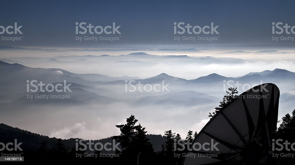 Communication on top of the mountain royalty-free stock photo