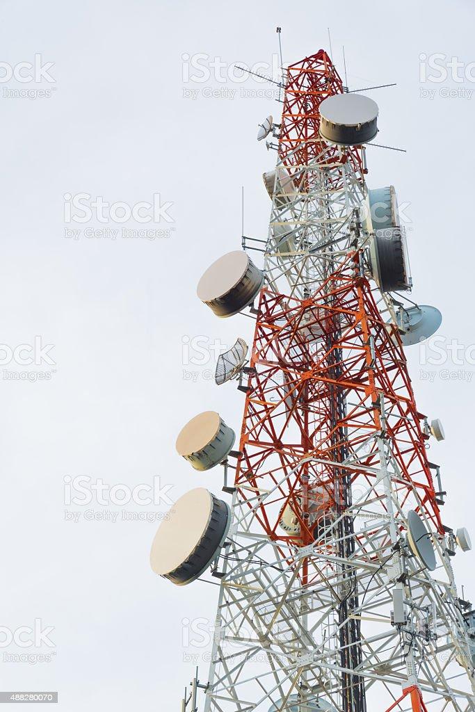 communication pole stock photo