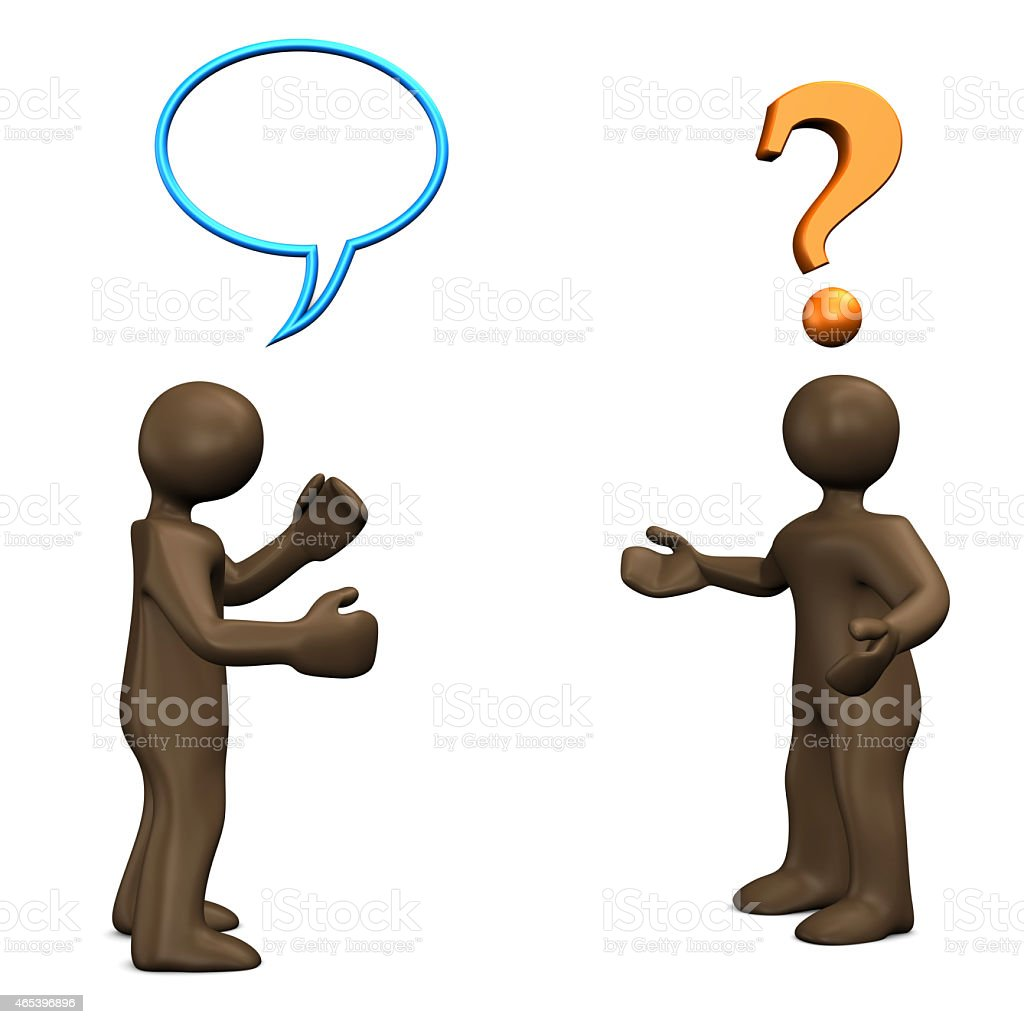 Communication problem, 3d illustration with cartoon character stock photo