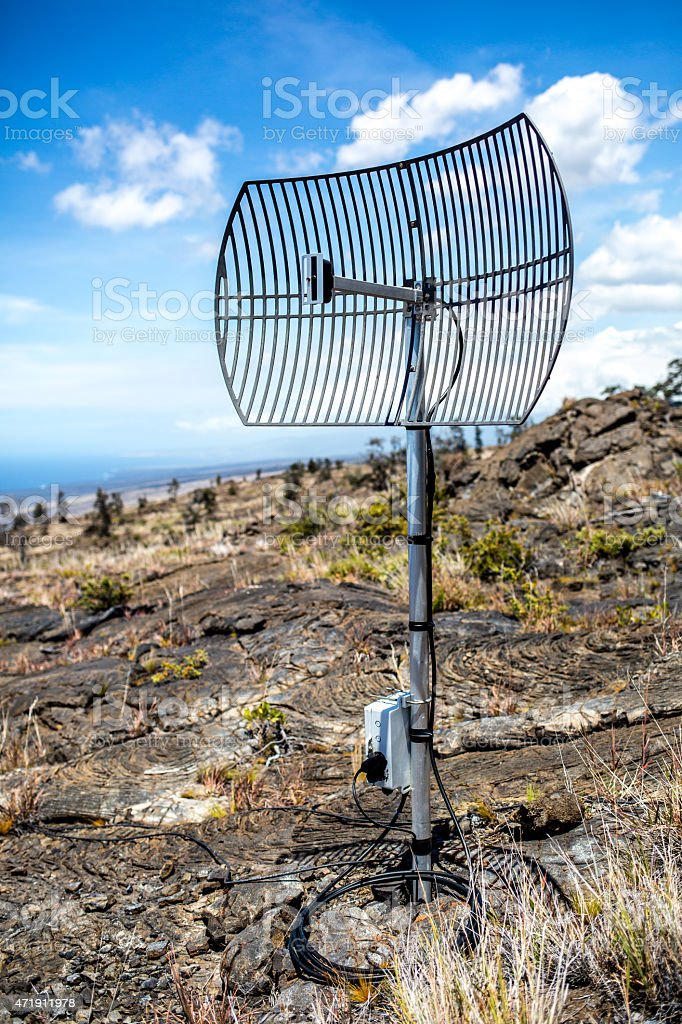 Communication Relay Dish in Volcano National Park stock photo