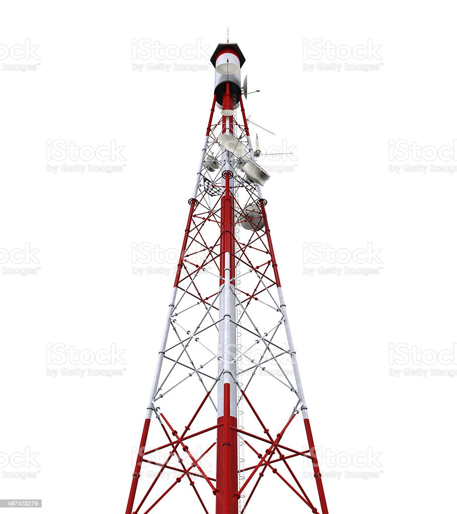 Communication Tower with Antennas stock photo