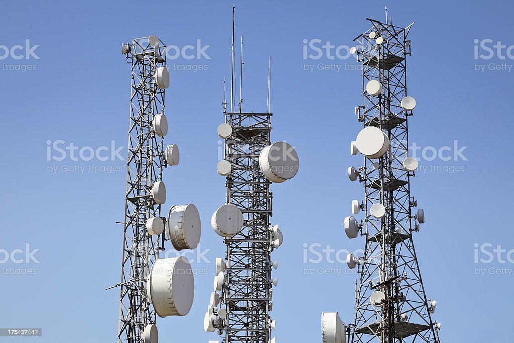 Communication towers stock photo