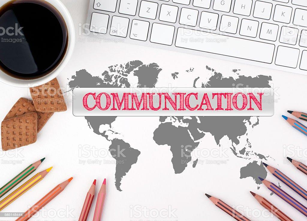 Communication. White office desk stock photo