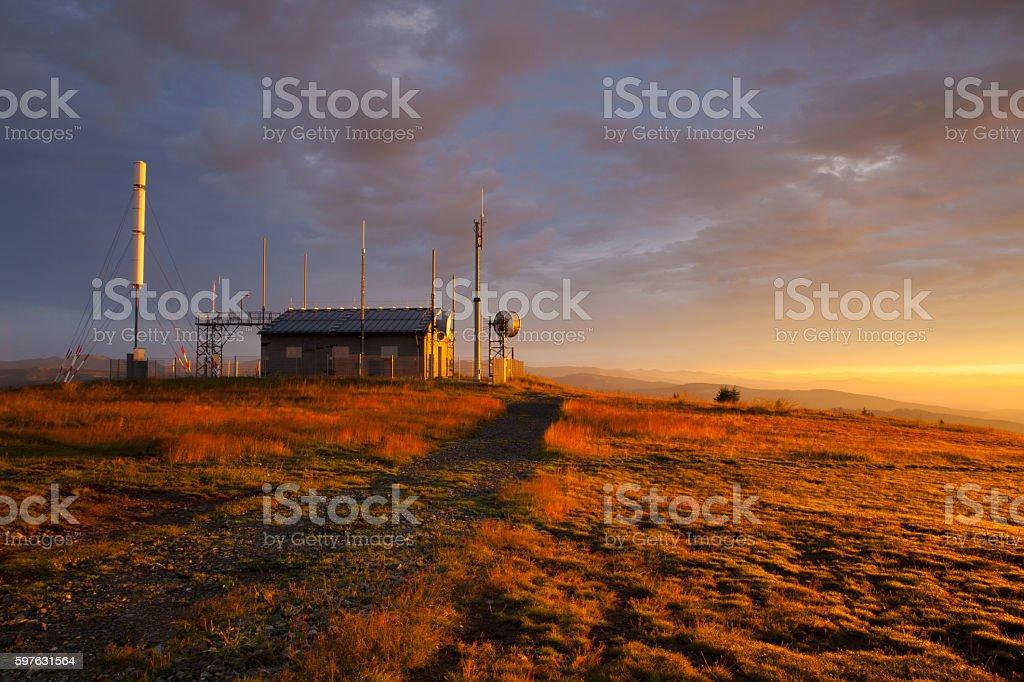 Communications station and stunning  morning in Gerlitzen Apls i stock photo