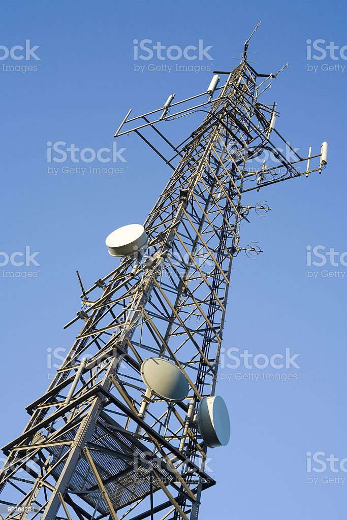 communications tower - tv radio & cell antenna royalty-free stock photo