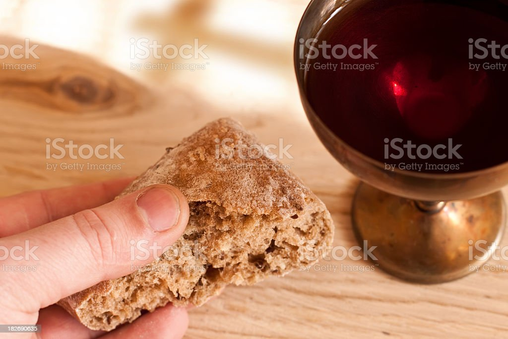 Communion - bread and wine royalty-free stock photo