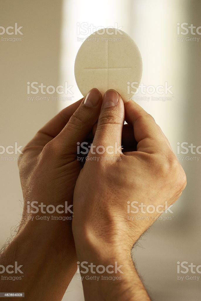 Communion bread stock photo