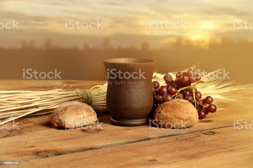 Communion Elements at Sunset stock photo