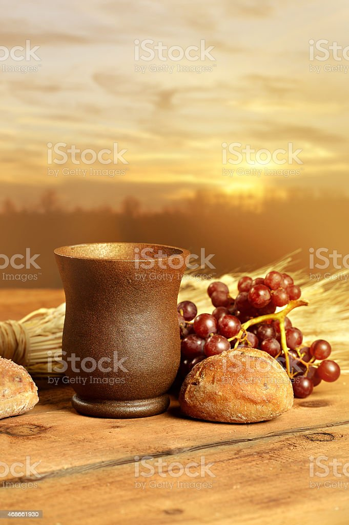 Communion Elements on Table stock photo