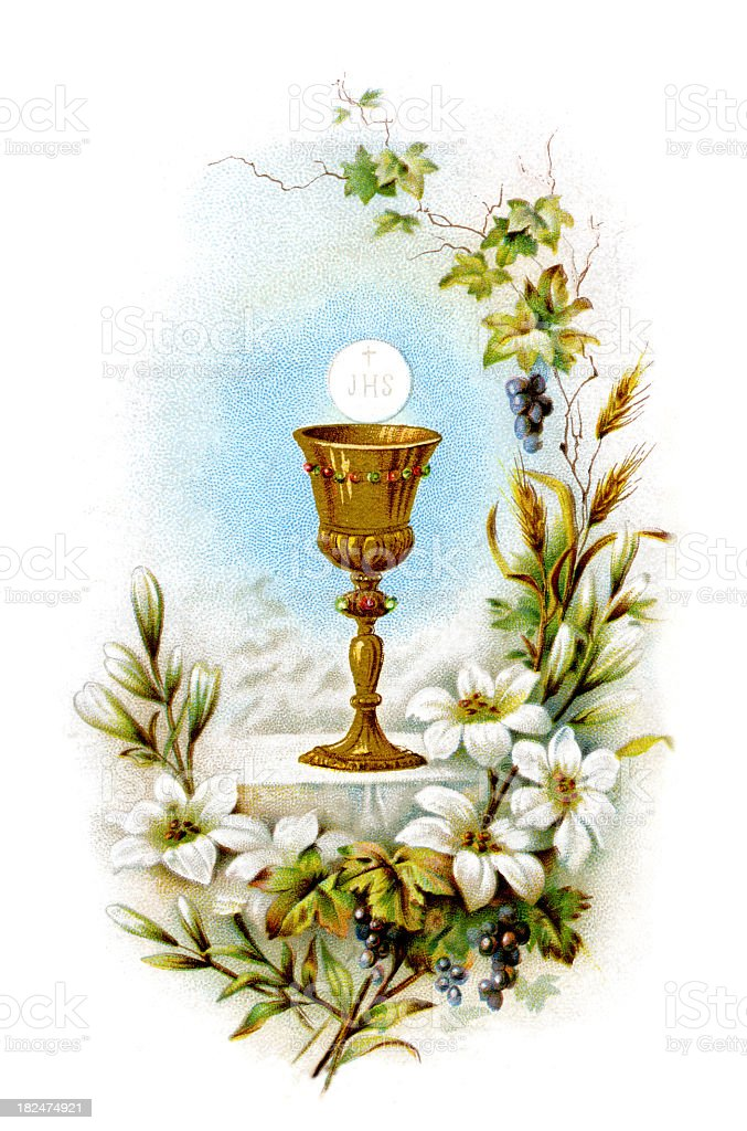 Communion lithography stock photo